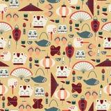 Bezszwowy wzór z Azjatyckimi ikonami Obraz Stock
