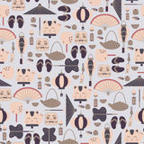 Bezszwowy wzór z Azjatyckimi ikonami Zdjęcie Stock