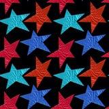 Bezszwowy wzór z błękitem i czerwienią gra główna rolę na czarnym tle zdjęcia royalty free