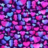 Bezszwowy wzór z błękitem, różowi akwareli serca r Odizolowywający na Fiołkowym tle Fotografia Stock
