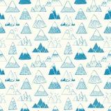 Bezszwowy wzór z błękitnymi doodle nakreślenia górami na białym tle Może używać dla tapety, deseniowa pełnia Zdjęcie Stock