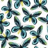Bezszwowy wzór z błękitnymi motylami Zdjęcie Royalty Free