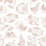 Bezszwowy wzór z bajecznie ptakami w doodle stylu ilustracji