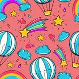 Bezszwowy wzór z balonem, gwiazdami tęcze, chmurami i innymi elementami, Fotografia Royalty Free