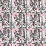 Bezszwowy wzór z bananem opuszcza na delikatnym różowym tle fotografia royalty free