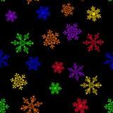 Bezszwowy wzór z barwiącym tęcza płatkiem śniegu ilustracji