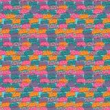 Bezszwowy wzór z barwiącymi autobusami ilustracji
