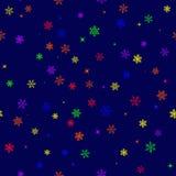 Bezszwowy wzór z barwiącymi tęcza płatkami śniegu ilustracji