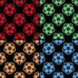 Bezszwowy wzór z barwionym kwiatu elementem Czarna abstrakcjonistyczna tapeta royalty ilustracja