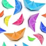 Bezszwowy wzór z barwionymi łodziami, origami łodzie, bezszwowy origami Zdjęcie Stock