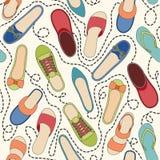 Bezszwowy wzór z barwionymi butami i ciskający ilustracja wektor