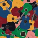 Bezszwowy wzór z barwionymi gitarami Zdjęcia Royalty Free