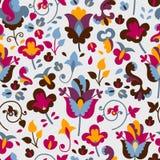Bezszwowy wzór z barwionymi kwiatami Obraz Stock