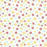 Bezszwowy wzór z barwionymi kwiatami i sercami ilustracja wektor
