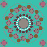 Bezszwowy wzór z barwionymi punktami i okręgami ilustracja wektor