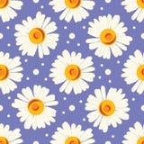 Bezszwowy wzór z białymi kropkami i chamomiles na błękitnym tle Obraz Stock