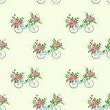 Bezszwowy wzór z bicyklem i kwiatami Fotografia Royalty Free