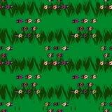 Bezszwowy wzór z biedronkami w zielonym tle Obraz Stock