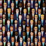 Bezszwowy wzór z biznesmenów lub polityków tłumem Płaska ilustracja biznesu lub polityka społeczność ilustracja wektor