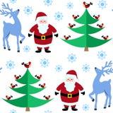 Bezszwowy wzór z Bożenarodzeniowym reniferem i Święty Mikołaj w zima lesie zdjęcie royalty free