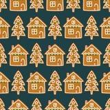 Bezszwowy wzór z Bożenarodzeniowymi domowej roboty piernikowymi ciastkami Xmas drzewo i śliczny dom - ilustracji