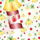 Bezszwowy wzór z Bożenarodzeniowymi dzwonami, jemiołą i czerwień faborkiem, Obraz Royalty Free