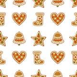 Bezszwowy wzór z Bożenarodzeniowymi piernikowymi ciastkami - dzwon, xmas pończocha, gwiazda, serce ilustracji
