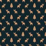 Bezszwowy wzór z Bożenarodzeniowymi piernikowymi ciastkami - xmas rogacz i drzewo Zima wakacje wektoru tło royalty ilustracja