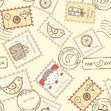 Bezszwowy wzór z boże narodzenie poczta znaczkami Obrazy Royalty Free