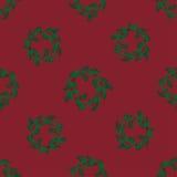 Bezszwowy wzór z bożymi narodzeniami Wreathes Zdjęcia Royalty Free