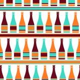 Bezszwowy wzór z butelkami szampan wewnątrz Zdjęcie Royalty Free