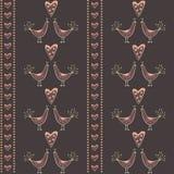 Bezszwowy wzór z całowań sercami i ptakami Zdjęcia Royalty Free