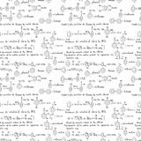 Bezszwowy wzór z chemicznymi formułami ilustracja wektor