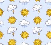 Bezszwowy wzór z chmurami, błyskawica, śnieg, słońce na bławym tle royalty ilustracja