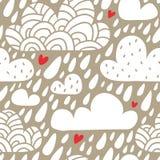 Bezszwowy wzór z chmurami, spada serca i raindrops i Zdjęcia Stock