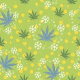 Bezszwowy wzór z choinkami, płatek śniegu i marihuana liśćmi, royalty ilustracja