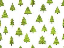 Bezszwowy wzór z choinkami w mieszkanie stylu odznaczony świąteczne drzewko wektor Fotografia Stock