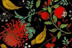 Bezszwowy wzór z chrysantemums, granatowami i ptakami, ilustracja wektor