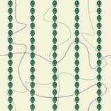 Bezszwowy wzór z ciągłymi wyginającymi się łańcuchami i koronkowymi liści lampasami Wektorowa ilustracja w zieleni, śmietanka i s ilustracji