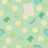 Bezszwowy wzór z ciastkami, wapnem, mennicą i herbatą. Obraz Stock