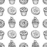 Bezszwowy wzór z ciasto cukierkami Fotografia Stock