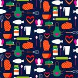 Bezszwowy wzór z cookware Obraz Royalty Free