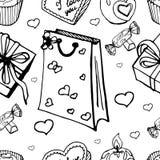 Bezszwowy wzór z cukierkami i prezentami ilustracja wektor
