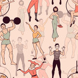 Bezszwowy wzór z cyrkowymi wykonawcami Fotografia Royalty Free