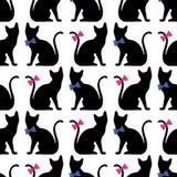 Bezszwowy wzór z czarnego kota sylwetką Wektorowy tło royalty ilustracja