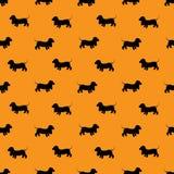 Bezszwowy wzór z czarnych psów sylwetkami - jamnik na Oran royalty ilustracja