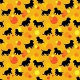 Bezszwowy wzór z czarnych psów sylwetkami szczeniak, spaniela bre ilustracji