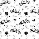 Bezszwowy wzór z czarnymi bicyklami tandem, róże, serca i tekst na białym tle, Ty i Ja Obraz Stock