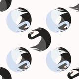 Bezszwowy wzór z czarnymi i błękitnymi łabędź wpólnie obraca wokoło wokoło ilustracja wektor