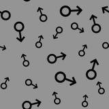 Bezszwowy wzór z czarnymi męskimi symbolami Męskich małych znaków różni rozmiary Wzór na szarym tle również zwrócić corel ilustra royalty ilustracja